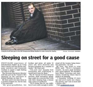 Newspaper Article in the lead up to the Sleepout